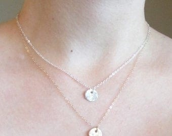 Gold hammered necklace, Gold hammered disc necklace, dainty