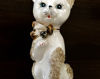 Vintage Mid-Century Japan Ceramic Kitty with Sugar Texture Detail Hand Painted