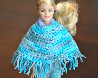 "Hand crochet Blue and Gray Barbie Poncho with Tassels - Barbie Outerwear - Fun Barbie Clothing - Fashion Doll Accessory - 11 1/2"" Doll Coat"