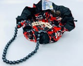 Drawstring Travel Jewelry Pouch / Satchel - Harley Quinn Inspired with Black Satin Lining