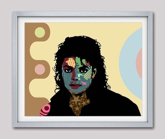 Michael Jackson Pop Art Print Postal, Celebrity Portraits,  Portrait Painting, Super Star 1980s Music Poster, Legend Music