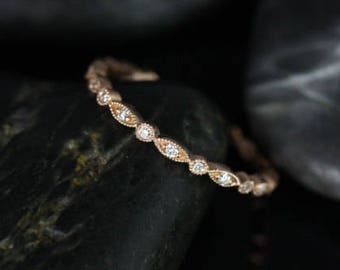 Rosados Box Ready to Ship Ultra Petite Bead & Eye 14kt Rose Gold Vintage WITH Hand Milgrain Beading Diamond FULL Eternity Band