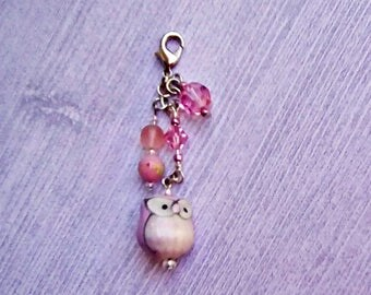 Pretty in Pink Owl Charm