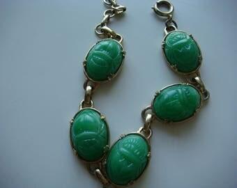 Vintage Green Scarab Bracelet