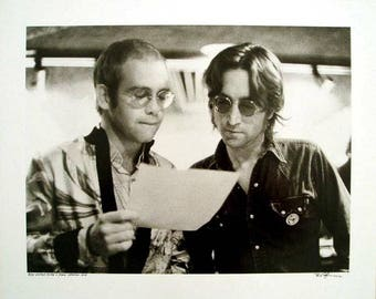 Bob Gruen-Elton John and John Lennon At Record Plant New York-1972 -SIGNED