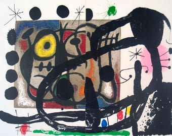 Joan Miro-Page from Derriere le Miroir, no. 151-152-1965 Lithograph