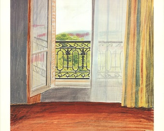 David Hockney-Window, Grand Hotel, Vittel-1981 Lithograph