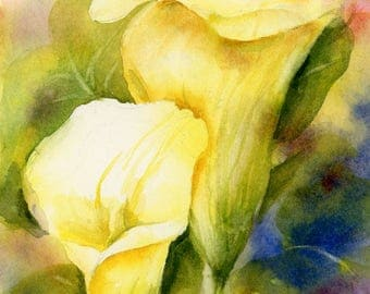 """Yellow Calla Lily Watercolor Painting Print by Connietownsart, 5""""x7"""" Art, Calla Lily Art"""