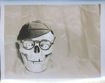 vintage photograph, silly skull photo, 1950's