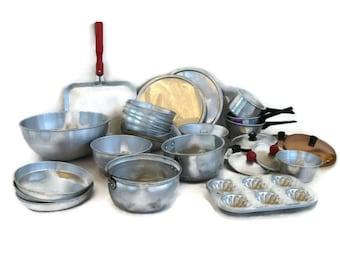 vintage toy cookware, aluminum pots, pans, bowls, muffin tin, griddle, 24 + 6