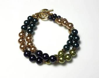 multicolor Swarovski crystal pearl bracelet multi strand green Tahitian purple gold pearl bracelet double strand beaded bracelet