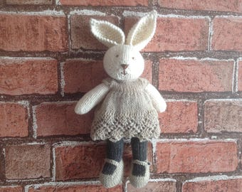 Knitted toy, hand knitted toy, handmade softie, soft toy, baby gift, kids toy, rabbit toy, dressed bunny, present for kids, handmade bunny,