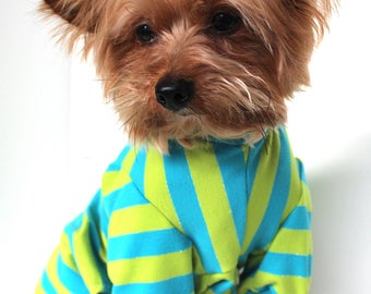 Jersey Dog Pajamas, XS S M L - Cute stripe Onesies for dogs, Pet Onesie Fashion Dog Clothes