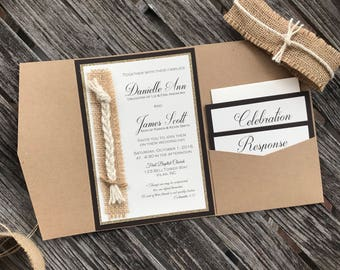 Cord of three strands wedding invitation - God's knot wedding invitation - Rustic barn wedding invitation with burlap and jute twine
