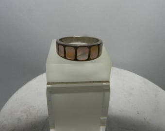 Vintage Mother of pearl Sterling silver Ring handmade with 7 mother of pearl inlaid squares stamped 925 with patina