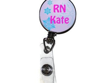 Retractable ID Badge Holder - Winter ID Badge, Snowflake Teacher Nurse Student ID Badge, Frozen Name Tag