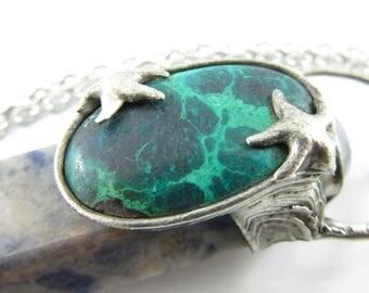 amphitrite - sodalite crystal pendant with chrysocolla & moonstone