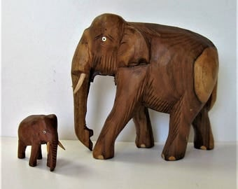 """Vintage set of 2 hand carved and painted wood elephants, 6 1/2"""" tall, Animal sculpture art, elephant family, good luck figurines, gift idea"""
