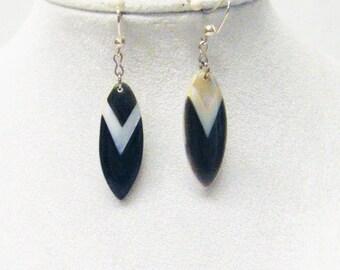 Oval Black/Cream Shell Drop Earrings