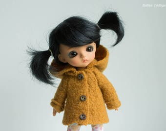 Mustard yellow pure boiled wool coat with hood to fit lati yellow, pukifee and Middie Blythe size dolls