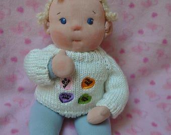 "Fretta's Waldorf style floppy Baby, 14.5"" / 37 cm tall. Soft child friendly Baby Doll. Textile Baby"