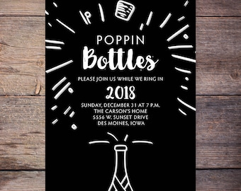 Popping Bottles New Years Invitation New Years Party Invitation New Year's Invitation New Year's Party Printable Gold Digital Invite