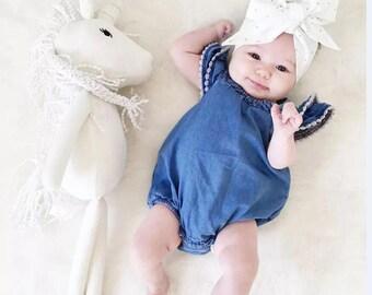 Baby Girl Lace Edged Bodysuit Romper