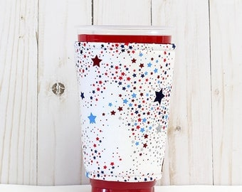 Coffee Cozy, Iced Coffee Cozy, Cup Sleeve, Eco Friendly, Insulated Cup Sleeve, Patriotic Cup Sleeve, Red White and Blue Stars Cup Sleeve