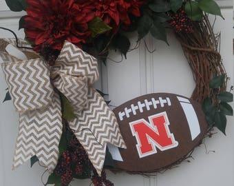 Nebraska Huskers Wreath, Nebraska Football, University of Nebraska Decor, NCAA Football Decor, Cornhusker Wreath, Husker Decor, Big Red