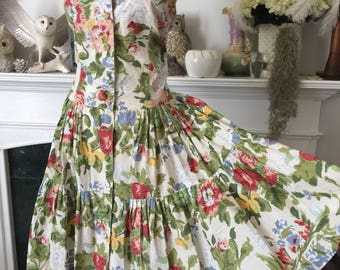 80s does 50s Sleeveless Summer Floral Cotton Sundress