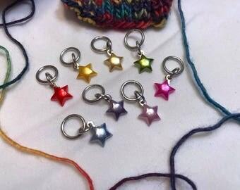 Rainbow Star Stitch Markers (8pc)