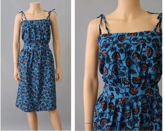 1980s African print cotton Strap Dress Medium/ Vintage african cotton dress