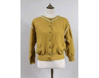 Les Copains 1960 Mustard Wool Cardigan  made in Italy