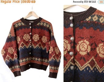 1980 French pure wool Cardigan Gypsy made in France /80s wool floral cardigan