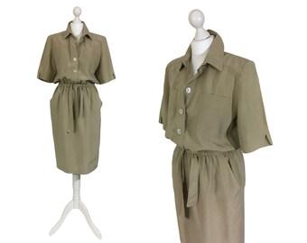 Silk Vintage Dress | Vintage 1980's Silk Dress | Khaki Dress | Safari Style Casual Shirt Dress