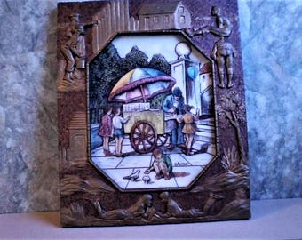 Artini Hand Painted Twin Etched Masterpiece, summer scene, summer time, ice cream, street vendor, kids and ice cream, feed the birds