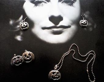 Silver Pumpkin Jewelry/Halloween/Earrings/Necklace/Brooch/Pumpkin Jewelry/Halloween Jewelry/Jack o' Lantern