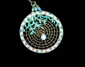 Antique Enamel Spider  Chinese Export Necklace  Vintage Silver Pendant  Web Fly Wisteria