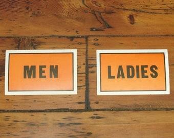 ON SALE pair vintage cardboard men & ladies restrooms signs