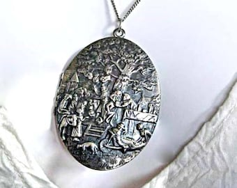 Vintage Silver Photo Locket, Rustic Peasant Tavern Gypsy Folk Scene, Large Repousse Oval, Sterling Chain