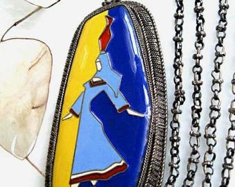Sterling Enamel Porcelain Pendant, Ethnic Woman with Jar, Eastern Tribal Image, Blue Yellow Costume, Irregular Shape Frame, Ceramic Shard