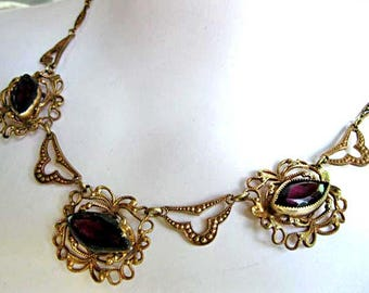 Glass Stones Art Nouveau Necklace, Deep Purple Faceted Pointed Ovals, Edwardian Choker, Ornate Brass Open Frames and Links, Amethyst Glass