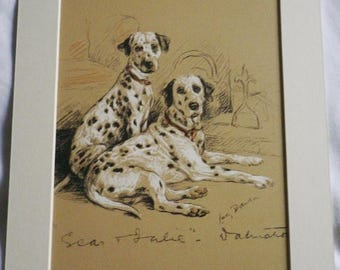 SALE 1937 Lucy Dawson Dalmatian puppy Vintage signed mounted dog plate print Unique Christmas Birthday gift