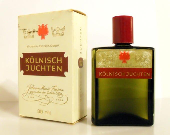 Vintage Mens Fragrance 1950s Kölnisch Juchten by Johann Maria Farina 1.18 oz Eau de Cologne Splash and Box German PERFUME