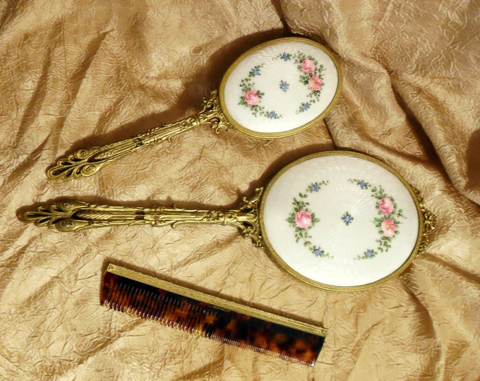 Antique 1920s Guilloche Hand Painted Floral Enamel and Ormolu Three Piece Vanity Boudoir Set