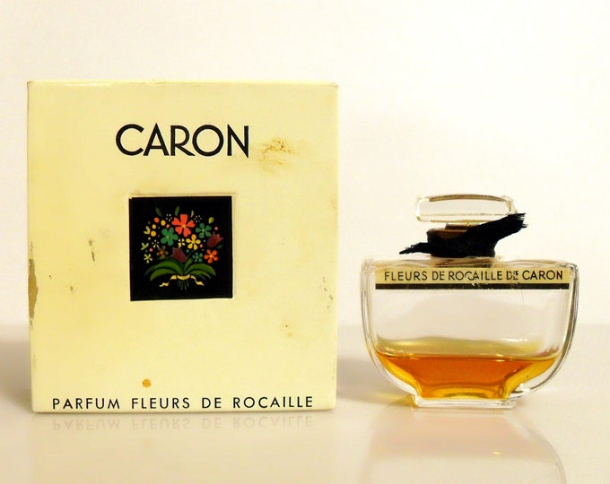 Vintage 1950s Perfume Fleurs de Rocaille by Caron 0.5 oz Pure Parfum Splash and Box Original Formula