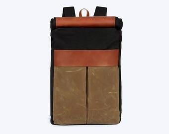 No. 7 Roll Top Backpack Black, Black Large Backpack, Weekend Backpack, Large Backpack, Large Waxed Laptop Backpack, Black Canvas Roll Top