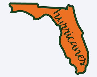 Miami Hurricanes Florida Canes Two Colors Decal