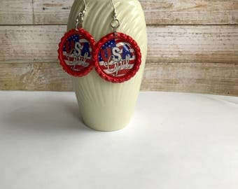 4th of July Earrings, Red White and Blue Earrings, 4th of July Earrings, Americana Earrings, USA Flag Accessory, Fireworks Accessory