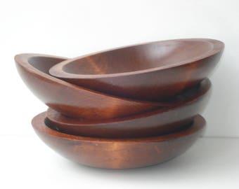 Baribocraft- Vintage Wood Serving Bowls - Set of Four - Retro Appetizer Servingware Mid Century Modern - 1960s